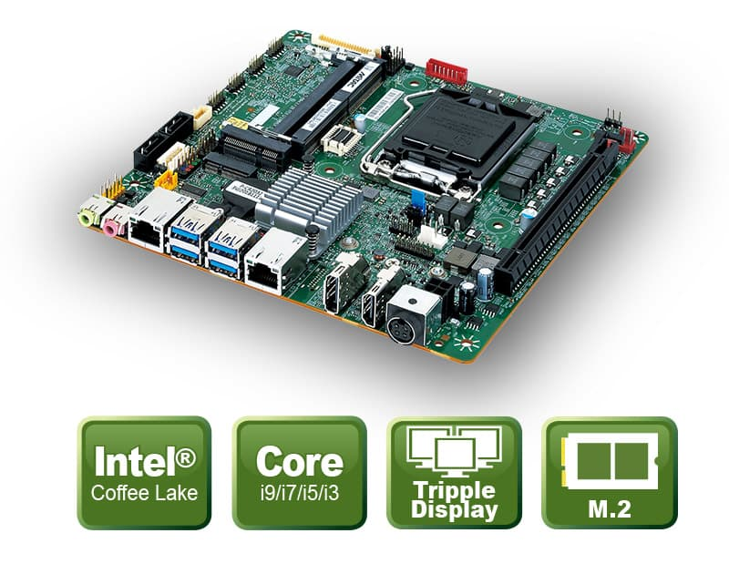 PH14FEI - Thin-Mini ITX Board mit Coffee-Lake Octa/Hexa-Core Prozessor Support