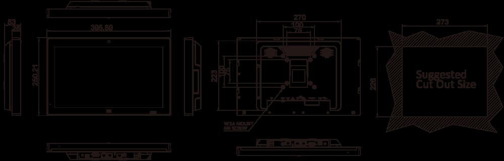 R11 IEI Rack Mount kit for AFL3-W15A-BT Black